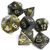 Black Gold & Silver Leaf Polyhedral 7 Dice Set